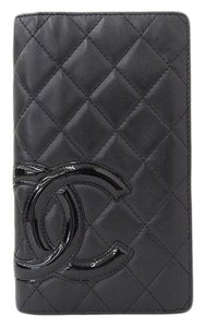 Chanel Chanel Cambon Line Leather Bifold Long Wallet Black 11th