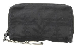 Chanel Chanel New Travel Line Nylon Jacquard Coin Purse with Key Ring Black Leather