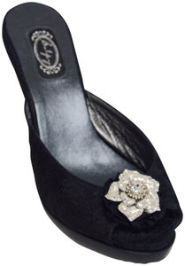 Salon Shoes Salpy Handcrafted New Crystals Black Mules