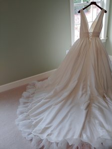White Satin Ball Gown with Lace-up Corset -- Traditional Wedding Dress Size 12 (L)