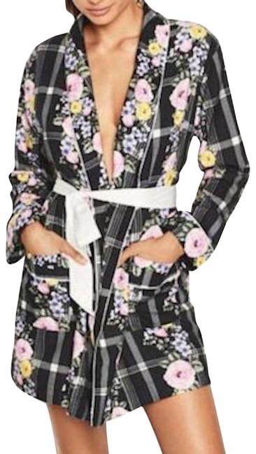 Item - Black XS New Rose Floral Jacket Robe Xs/S Cardigan Size 4 (S)