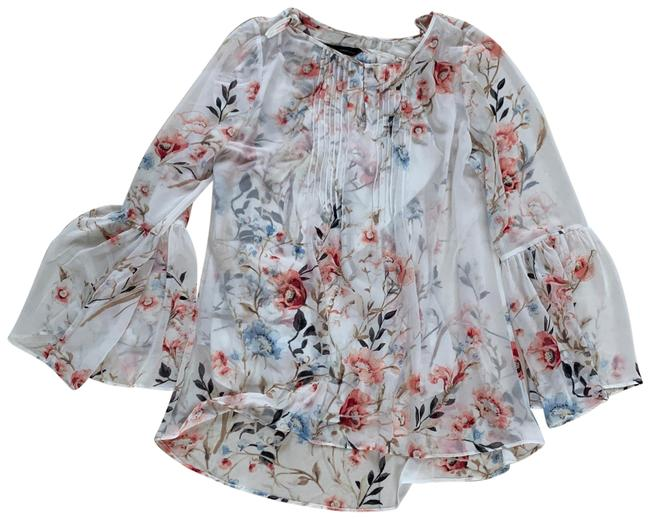 Item - Cream Pink Floral 2 Piece Longsleeve with Bell Sleeves Blouse Size 14 (L)