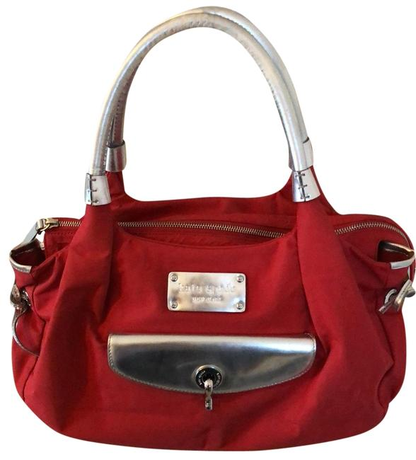 Item - Tote/ Handbag Red with Silver Hardware and Trim. Coated Nylon Hobo Bag
