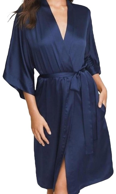 Victoria's Secret Blue New Very Sexy Silky Satin Robe Long Cardigan Size 8 (M) Victoria's Secret Blue New Very Sexy Silky Satin Robe Long Cardigan Size 8 (M) Image 1