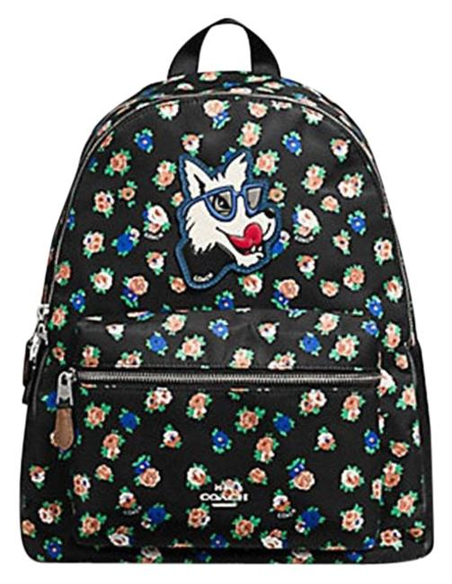 Coach Charlie Large: Msrp Black Floral Tea Mulit Rose Nylon Backpack Coach Charlie Large: Msrp Black Floral Tea Mulit Rose Nylon Backpack Image 1