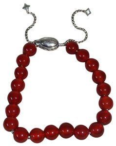 David Yurman David Yurman Red Carmelian 8MM Sterling Silver Spiritual Bead Bracelet