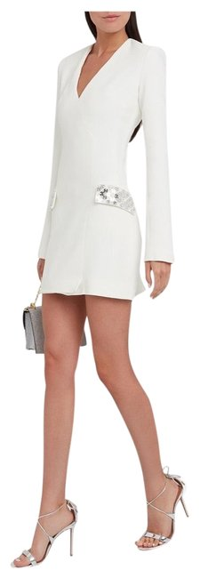 Item - White Embellished Tailored Mini Short Night Out Dress Size 6 (S)