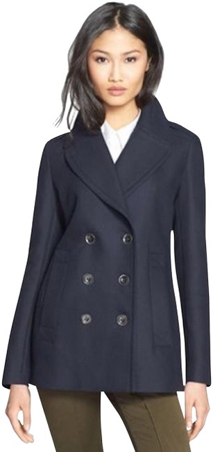 Item - Navy Womens Cotton Peacoat Jacket Us Eu 38 Coat Size 4 (S)