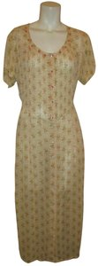 peach, pink & green Maxi Dress by April Cornell Sheer Short Sleeve Floral Oneam001