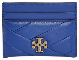 Tory Burch NWT TORY BURCH KIRA CHEVRON CARD CASE BLUE LEATHER WALLET CLUTCH BAG