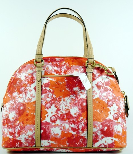 Coach Satchel in Orange Pink White