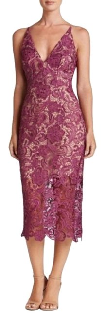 Item - Pink Purple Marie Crochet Lace Overlay Midi Mid-length Cocktail Dress Size 0 (XS)
