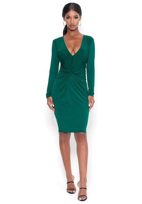 Item - Green Twist Midi Front Vneck Emerald Slinky Knit Lg Slv Mid-length Night Out Dress Size 4 (S)