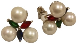 Fallon NWT $203 Fallon crystal and faux pearls Monarch cluster pierced studs
