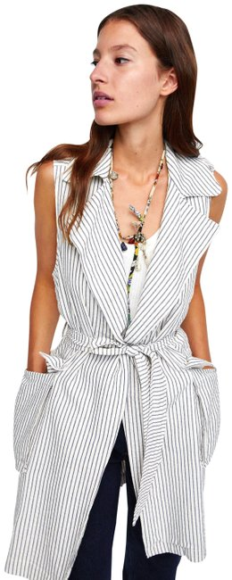 Item - White/Blue Striped Textured Waistcoat Coat Size 4 (S)