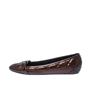 Burberry Quilted Patent Leather Brown Flats