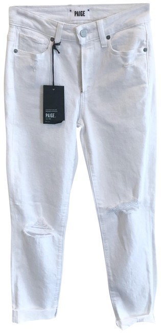 Item - White Light Wash Hoxton Raw Him Bianca Destructed Skinny Jeans Size 00 (XXS, 24)
