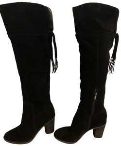 Franco Sarto Stack Heel Suede Leather Over The Knee Black Boots