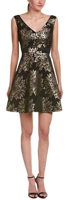 Item - Black Gold Jacquard Floral Short Cocktail Dress Size 6 (S)