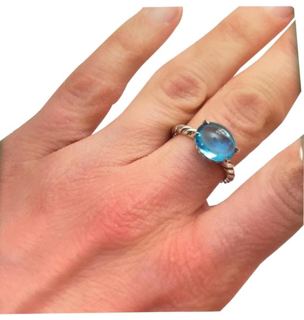 David Yurman Sterling Silver Color Cable Classic Stack with Blue Topaz Ring David Yurman Sterling Silver Color Cable Classic Stack with Blue Topaz Ring Image 1