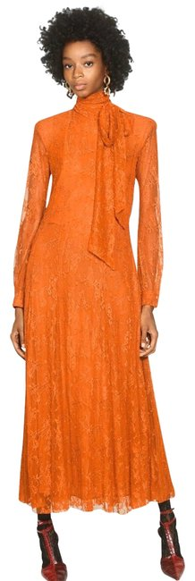 Item - Mustard/ Orange Lace with Bow Long Casual Maxi Dress Size 2 (XS)