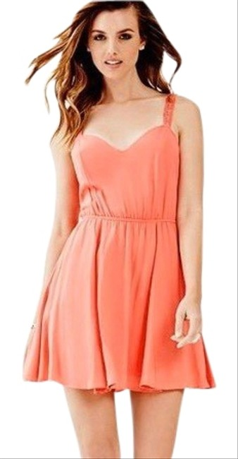 Item - Coral Lace Up Back Short Casual Dress Size 8 (M)