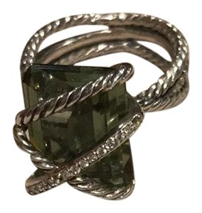 David Yurman Cable Wrap Around Ring with Prasiolite & Diamonds