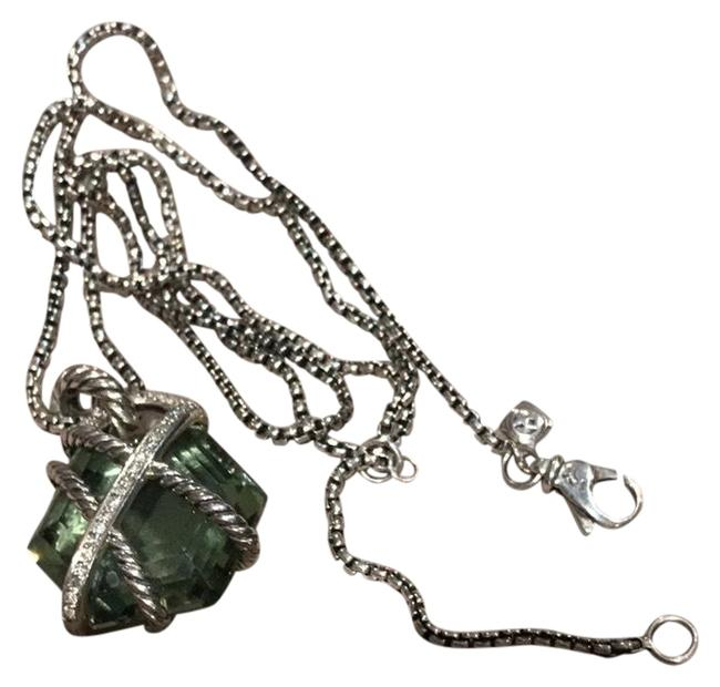 Item - Green Cable Wrap Collection Prasiolite and Diamond Pendant Enhancer with Chain. Large Version. Necklace