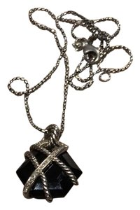 David Yurman Cable Wrap Collection, Onyx and Diamond Pendant with chain necklace.