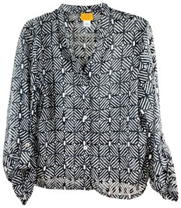 Ruby Rd. Geometric Patterned Sheer Buttoned Button Down Shirt Black, Silver