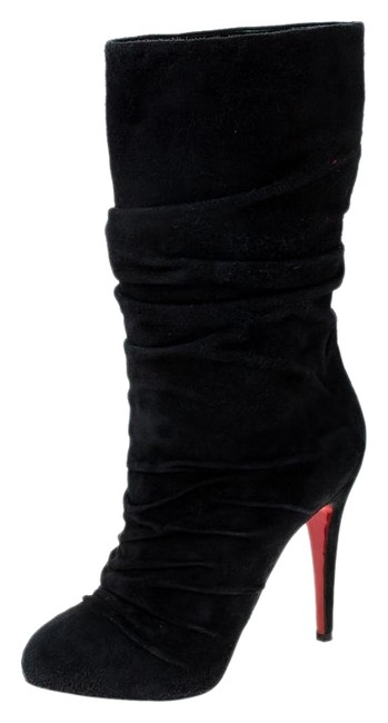 Item - Black Pleated Suede Prios Mid Calf 37.5 Boots/Booties Size US 7 Regular (M, B)