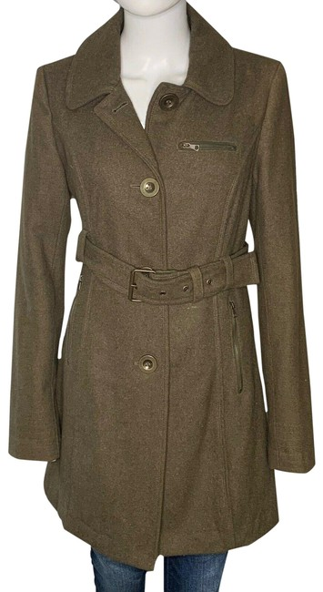 Item - Green Women's Belted Button Up Wool Blend Coat Size 12 (L)
