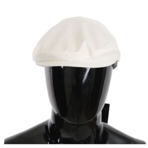 Dolce&Gabbana White D70120-58 Cotton Stretch Logo Newsboy Hat Groomsman Gift