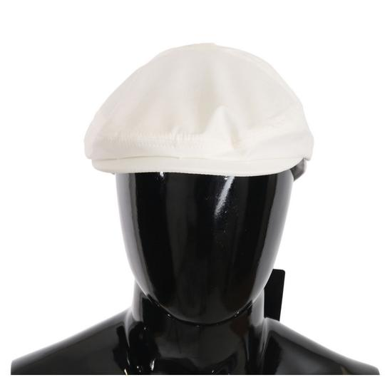 Dolce&Gabbana White D70120-58 Cotton Stretch Logo Newsboy Hat Groomsman Gift Image 0