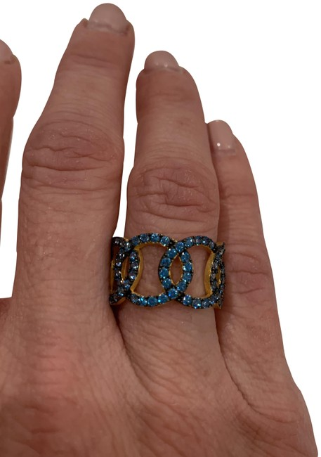 Item - Blue/Gold Crystal And Ring