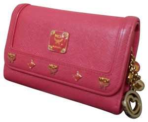 MCM MCM Wallet Tri-fold Pink with Keychain