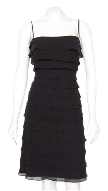 Item - Black Layered Silk Mid-length Cocktail Dress Size 10 (M)