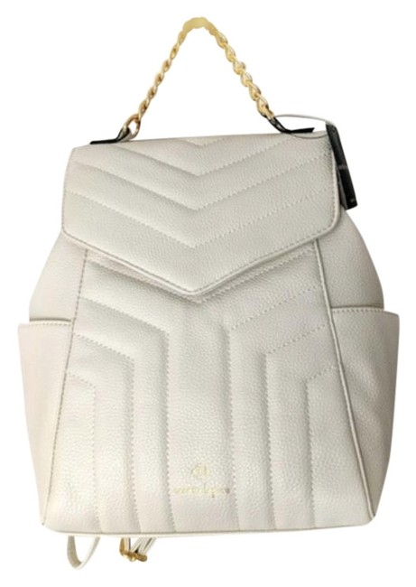 Item - Quilt Chain Handle Ivory/Bone/Cream Faux Leather Backpack