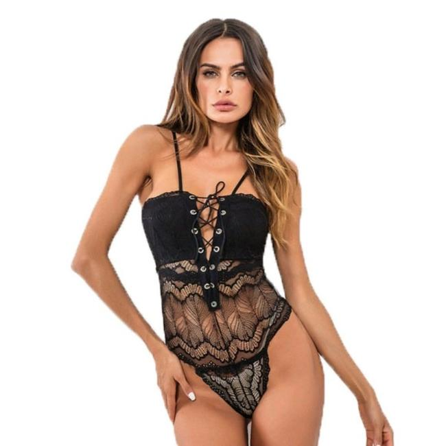 Unbranded Black Strappy Lace Sheer Tie Front Teddy Bodysuit Unbranded Black Strappy Lace Sheer Tie Front Teddy Bodysuit Image 1