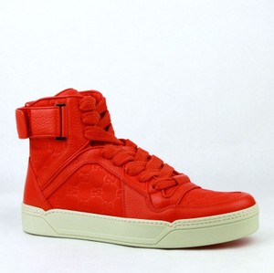 Gucci Red Nylon Fabric High Top Sneakers Ankle Strap 12g / Us 13 409766 6534 Shoes