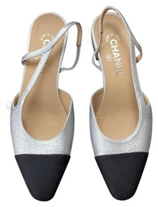Chanel Metalic silver and Black Pumps