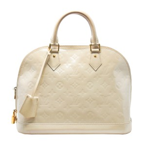 Louis Vuitton Monogram Leather Vernis Leather Alma Blanc Corail Lv Satchel in Beige