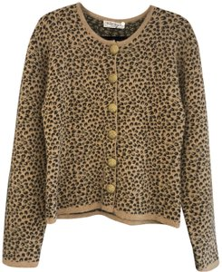 Saint Laurent Leopard Chunky Italy Gold Button Vintage Cardigan