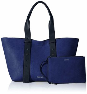 Calvin Klein Large Pouch Belted Adjustable Strap Tote in Retro Blue