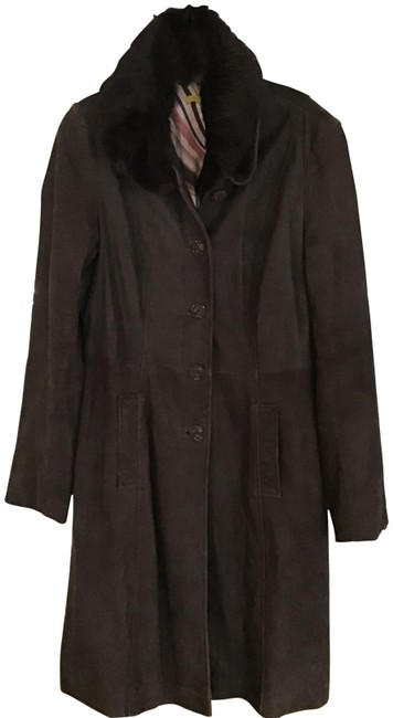 Item - Dk Brown L Long Suede Collar Trench Coat Size 12 (L)