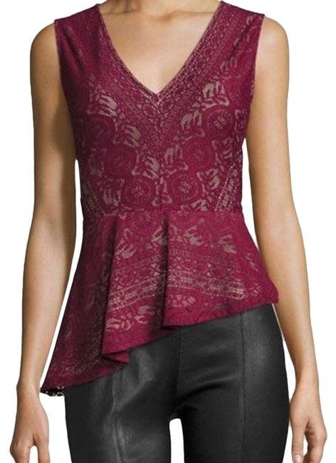 Item - Avalon Lace Asymmetric-peplum Deep Cranberry Tank Top/Cami Size 00 (XXS)