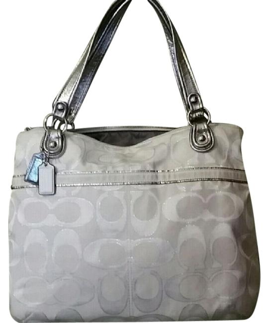 Item - Poppy Metallic Ivory & Silver Canvas Leather Tote