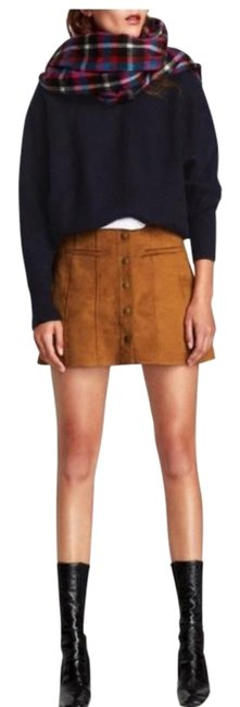 Item - Tan Camel Suede Front Button Skirt Size 4 (S, 27)