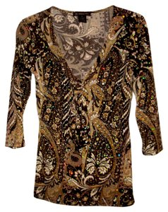 INC International Concepts Paisley Stretchy Empire Waist Bling Holographic Tunic