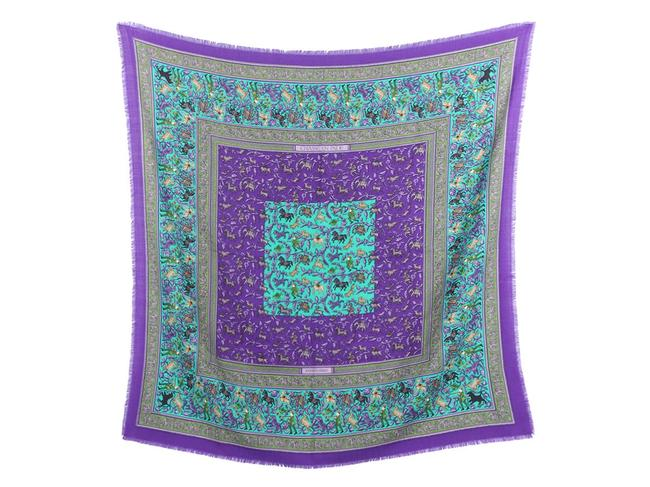 Item - Purple And Green Chasse En Inde Cashmere Silk 90cm Scarf/Wrap